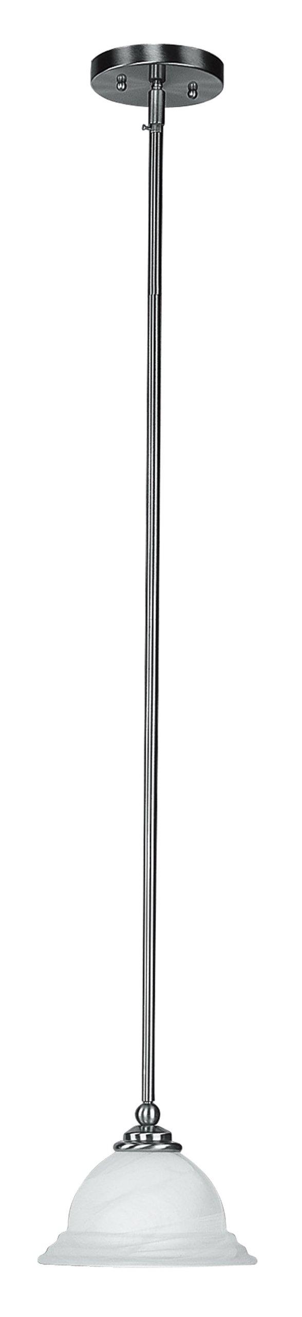 Livex Lighting 4256-91 North Port 1 Light Brushed Nickel Mini Pendant with White Alabaster Glass