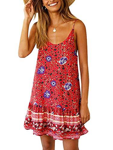 Womens Casual Boho Floral Swing Short Shift Beach Midi Dress Spagehetti Strap Sundress Red