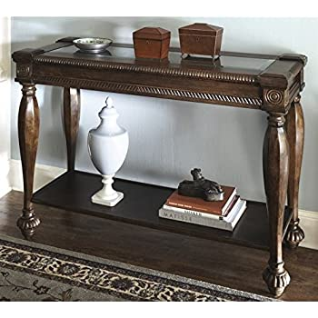 Ashley Furniture Signature Design   Mantera Sofa Table   Entertainment Console  Table   Rustic Style