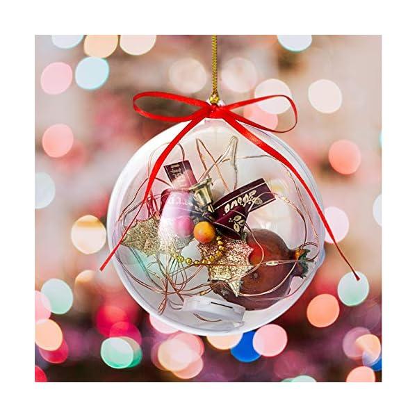 Gwhole Set di 15 Palline di Natale con 15 Corde d'oro e 15 Corde Rosse, 6cm 8cm 10cm Sfera Plastica Trasparenti Palla Palle da Natalizie Albero Apribili Decorative 6 spesavip