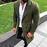 Clearance Forthery Men's Trench Coat Wool Warm Winter Long Outerwear Overcoat Jacket(Army Green, US Size M = Tag XL)