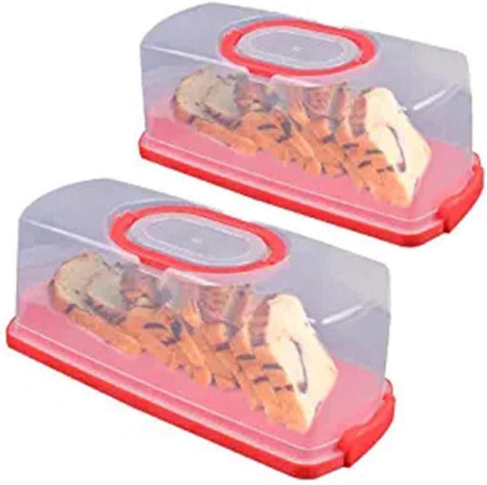 Scatola Per Pane Traslucida Da 2 Pezzi Custodia Per Alimenti Rettangolare In Plastica Portatile Con Manico Contenitore Per Alimenti Per Pasticceria Bagel Pane Tostato Pane