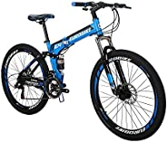 SD G4 Adult Folding Bike 17Inch Steel Frame Mountain Bikes 21 Speed Gears Full Suspension Foldable Bicycle