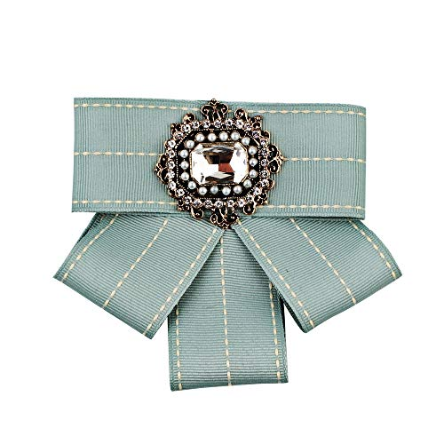 Zhao Xiemao Bow Ties Personalized Multi-Layer Bow Woven Ribbon Tie Brooch Canvas Jewelry Vintage Collar Corsage Shirt Dress Necktie Bowknot Brooch for Women (Color : Green)