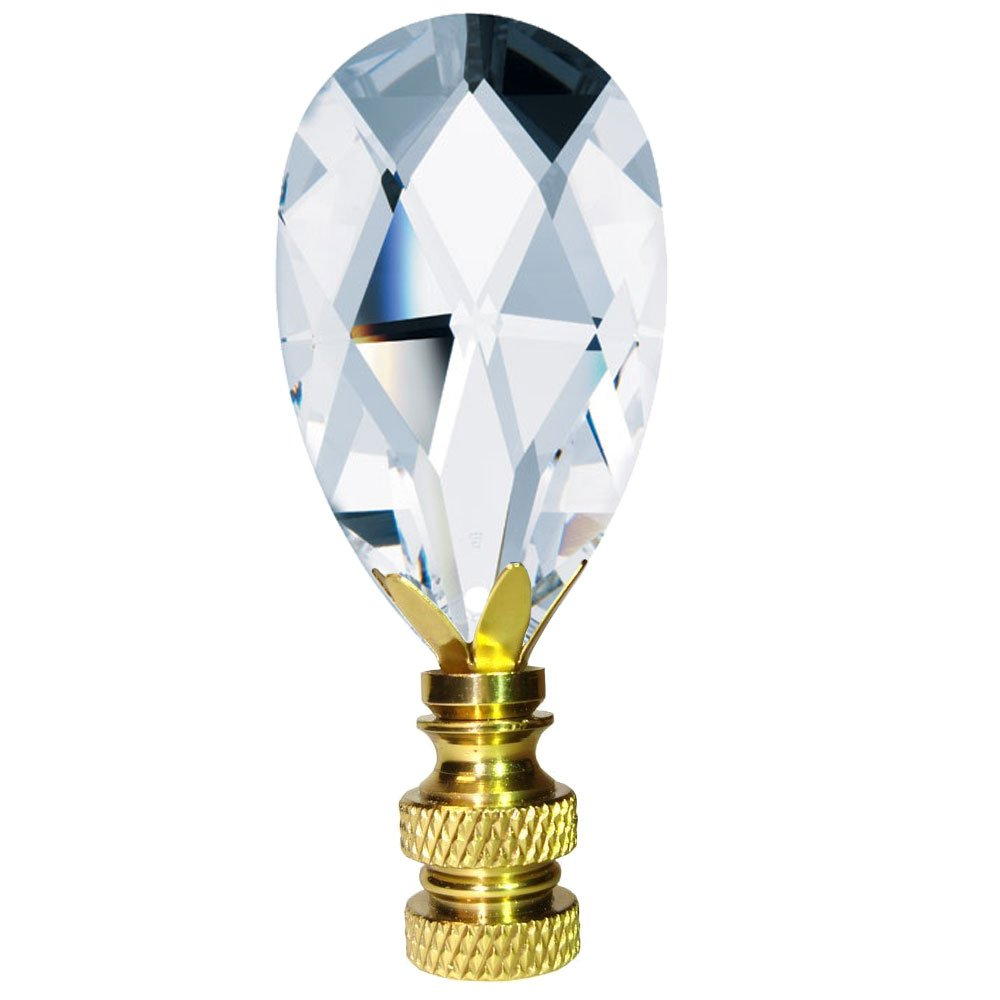 Swarovski Strass Clear Faceted Almond Prism Dazzling Lamp Shade Finial