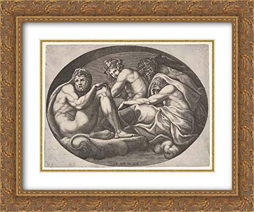 Giorgio Ghisi - 24x20 Gold Ornate Frame and Double Matted Museum Art Print - Hercules, Bacchus, Pan, and Another god Seated on a Cloud Under an Arch, an Oval Composition, from a Series of Eight comp