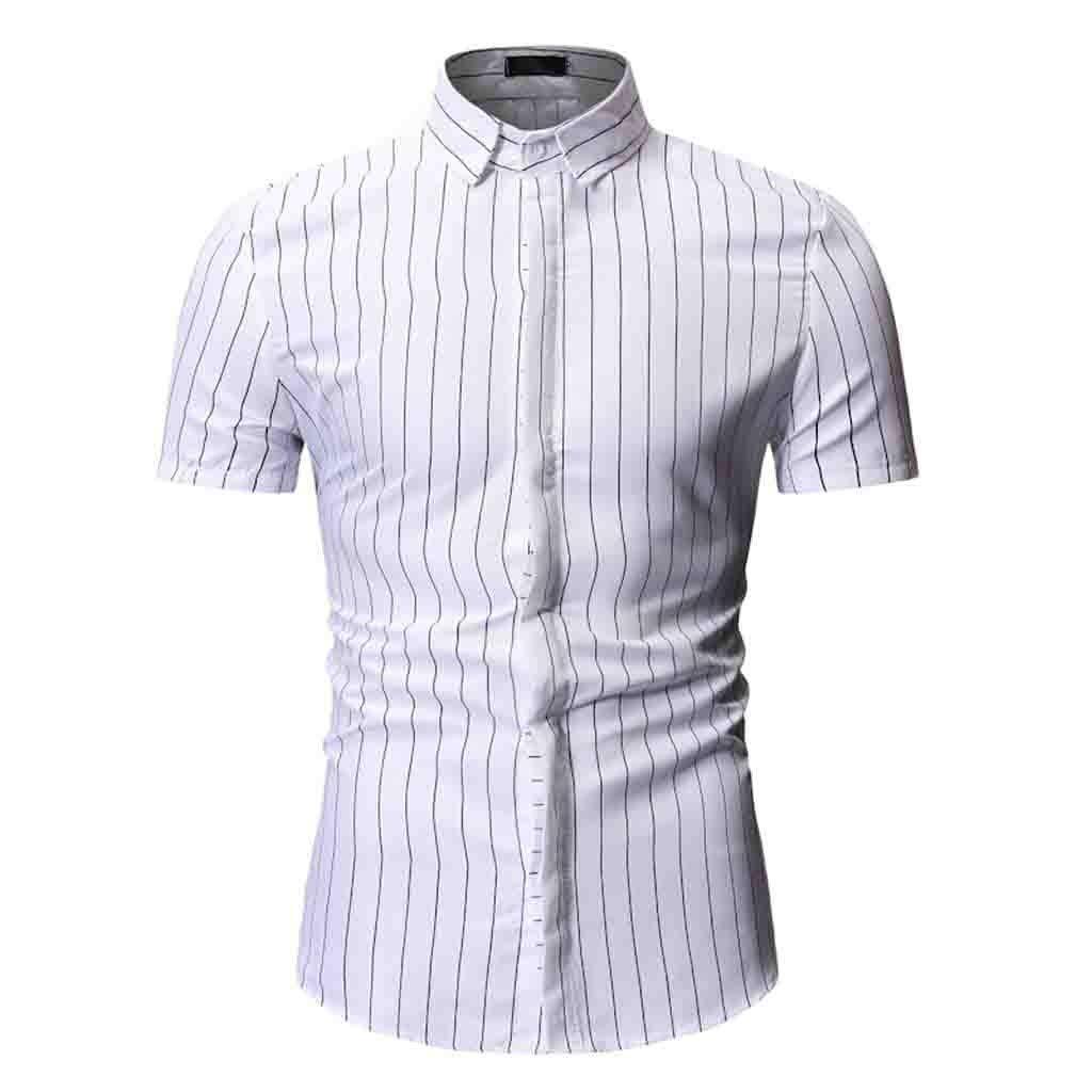 Stoota Mens Summer Shirt,Striped Print Down Collar Slim Fit Short Sleeve Top