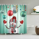 "3D Printed Christmas Snowman Background Waterproof Shower Curtain/Bath Curtain--Size: 66""x72"""