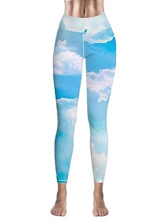 355d3a7f5066a Custom Women Leggings Capri Cool Sky Pattern High Waist Leggings for Sport Gym  Fitness Yoga Pants