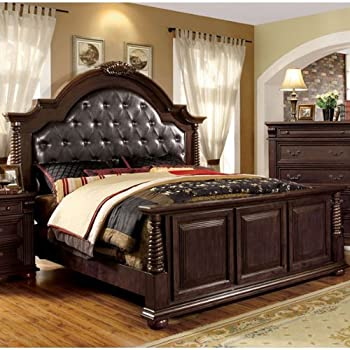 esperia english style brown cherry finish queen size bed frame set