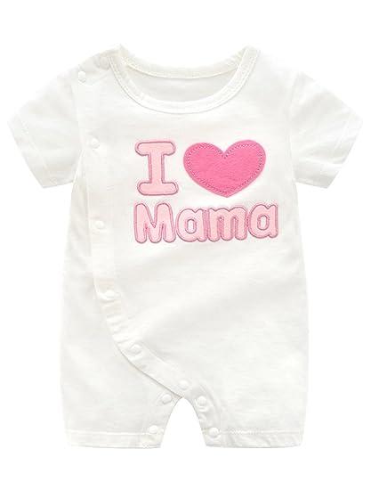 Babynice Barboteuse Bébé Fille Garçon en Coton Combinaison Romper Manches  Courtes Pyjama Eté Bébé Nouveau- d80b223b6df