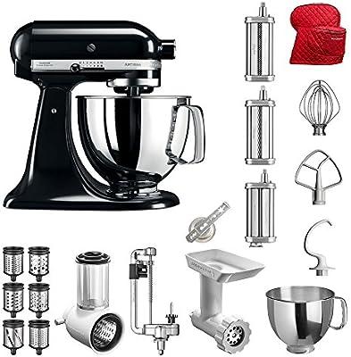 KitchenAid Artisan – Robot de cocina, 5 ksm125ps, superventas del paquete incluye Top accesorios: Cortador de verduras, picadora de carne, cortador en espiral, pasta vorsatz, accesorio para galletas), Cubierta y accesorios estándar: