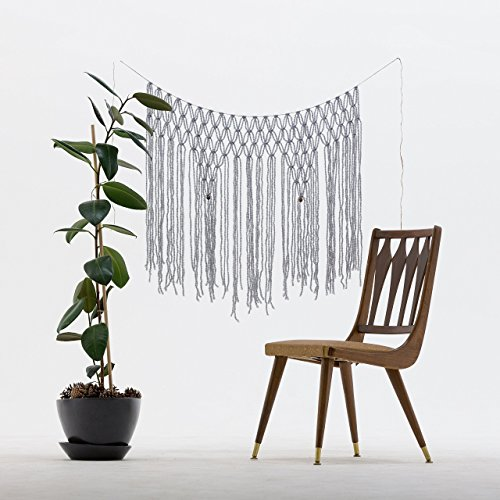 The House Phoenix Light Grey Handmade Macrame Wall Hanging. Cream Window Curtain Tapestry. Wedding Backdrop.