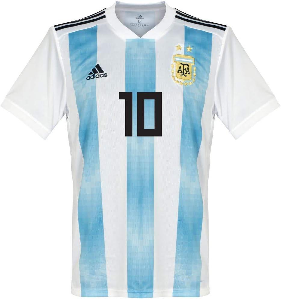 Player Print - Camiseta oficial de la selección argentina 2018-2019 Adidas Performance (Leo Messi, número 10), hombre, blanco y azul, Small: Amazon.es: Deportes y aire libre