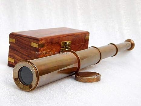 Telescopio de latón Estilo Antiguo con Caja de Madera de Rosa ...
