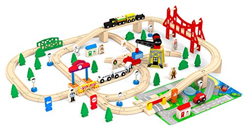 Town Wooden Toy Train Set - May & Z Wooden Train Set - Town Railroad Set of Wood Construction Railway Train Tracks - 100PCS