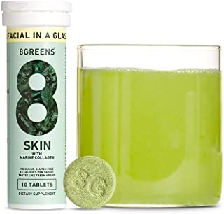 product image for 8Greens Skin + Marine Collagen for Beautiful Skin - Effervescent Super Greens Dietary Supplement - 8 Essential Healthy Real Greens in One (6 Tubes / 60 Tablets)