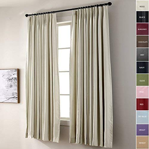 (IYUEGO Pinch Pleat Solid Thermal Insulated 95% Blackout Patio Door Curtain Panel Drape for Traverse Rod and Track, Beige 52W x 84L Inch (Set of 1 Panel))