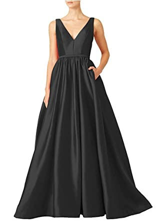 Victoria Prom Womens V-Neckline Long Satin Prom Gown Evening Dress Black us2
