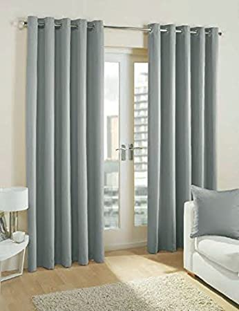 Pair Of Plain Light GREY Eyelet Ring Top BLACKOUT / DIMOUT Curtains  53u0026quot; ...