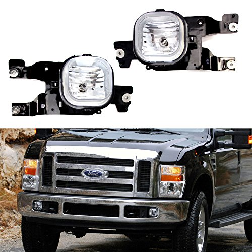 iJDMTOY Complete Set Fog Lights Foglamp Kit with Halogen Bulbs, Wiring On/Off Switch, Brackets For 2008-2010 Ford F250 F350 F450 Super Duty (Driving Lights Plastic Housing)