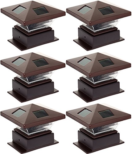 Westinghouse Pagoda II Solar LED Post Cap Light for 4 x 4 Wood Posts (Bronze, 6 Pack)