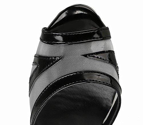 Femme Unie Noir Boucle Sandales Couleur Verni Haut à Talon VogueZone009 CCAFLP014766 YdPq6wY