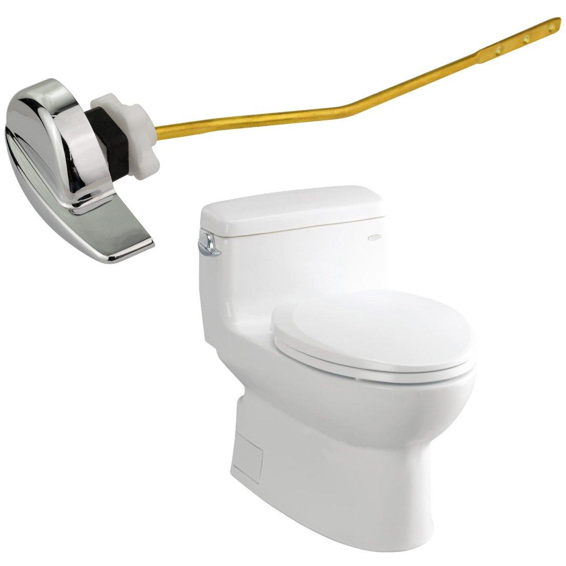 Angle Fitting Side Mount Toilet Lever Handle for TOTO Kohler Toilet Tank White