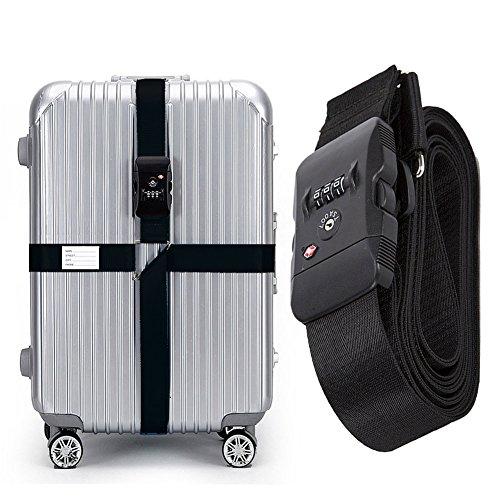 BlueCosto (Black) TSA Lock Adjustable Heavy Duty Cross Luggage Strap Suitcase Travel Bag Belt