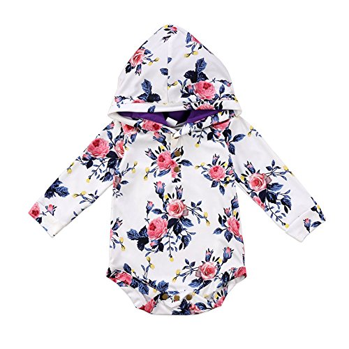 Floral Long Sleeve Onesie (enhill Infant Baby Girls Long Sleeve Floral Hooded Romper Bodysuit Top Outfit Clothes (White, 0-6 Months))