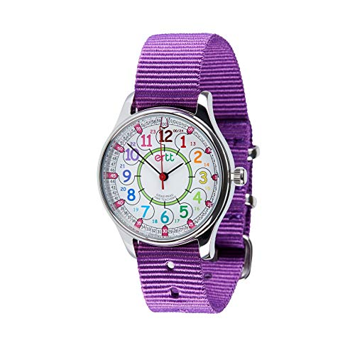 EasyRead Time Teacher WERW-COL-24-PU Rainbow 12/24 Hour Face Waterproof Watch Purple Strap