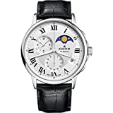 Edox Men's 'Les Bemonts' Swiss Quartz Stainless Steel and Leather Dress Watch, Color:Black (Model: 01651 3 AR)