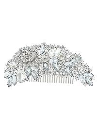 Ever Faith Flower Bouquet Hair Comb Clear Austrian Crystal Gold-Tone A06959-1