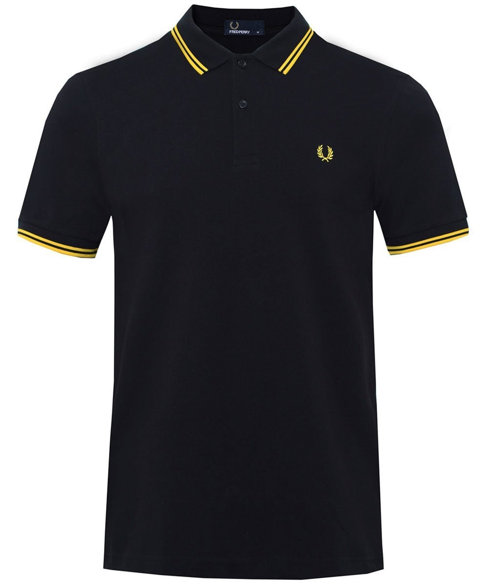 Fred Perry Men's Twin Tipped Polo Shirt-M3600, Black/Yellow/Yellow, X-Large
