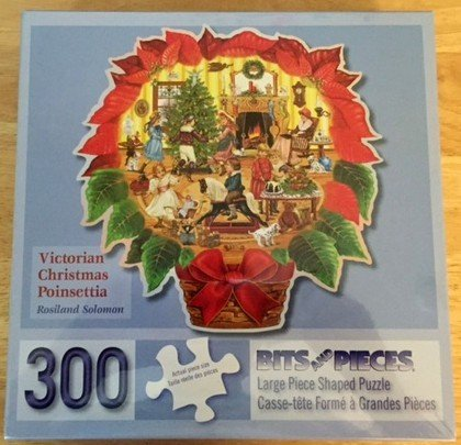 Bits & Pieces Shaped Jigsaw Puzzle - Victorian Christmas Poinsettia