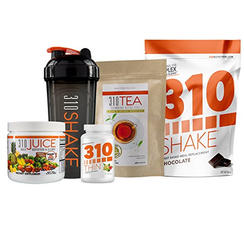 310 Nutrition Transformation Kit - Includes Chocolate Meal Replacement 310 Shake, 310 Detox Tea, 310 Juice, 310 Thin and Includes a 310 Shaker and Blending Bottle (Charcoal) by 310 Nutrition