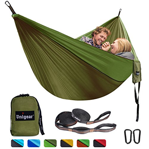 Folding Hammock - Unigear Double Camping Hammock, Portable Lightweight Parachute Nylon Hammock with Tree Straps For Backpacking, Camping, Travel, Beach, Garden