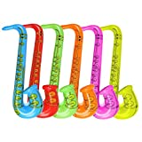 "DECORA 27.5"" Inflatable Saxophone Assorted Colors 6pcs for Easter Party Favors"