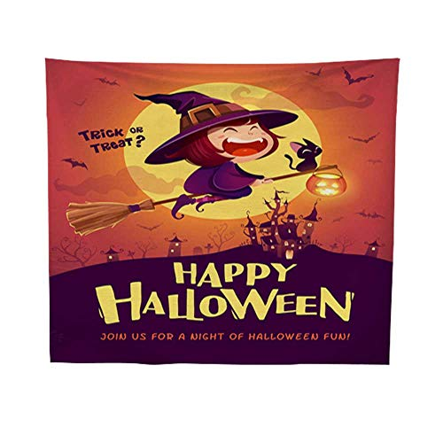 Leighhome Tapestry blankethanging tapestryHappy Halloween Halloween Flying Little Witch Girl Kid in Halloween Costume Flying Over The Moon Retro Vintage 1 60W x 80L INCH -