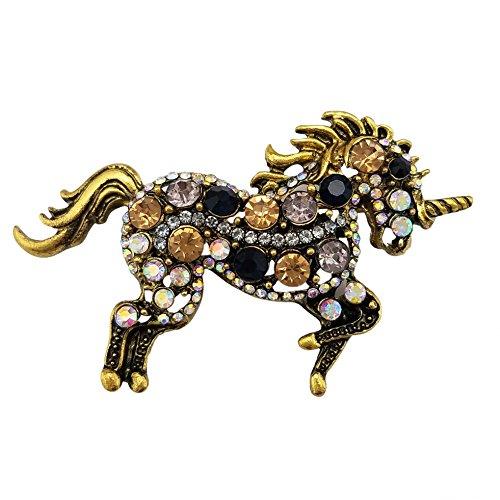SELOVO Women Brown Rhinestone Unicorn Horse Brooch Pin Crystal Antique Gold -