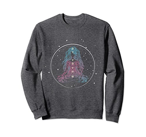 Unisex Spiritual Sweater: Cosmic Girl on Meditation & Chakras Medium Dark Heather