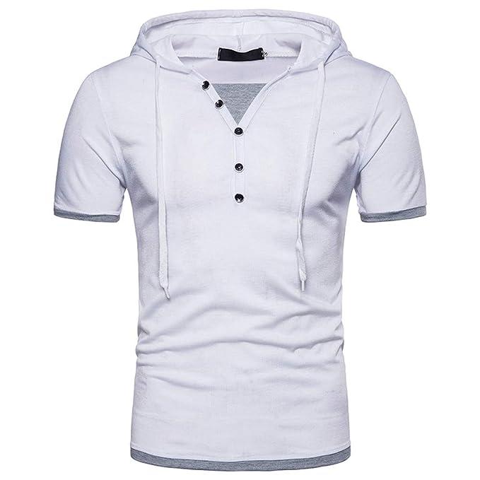 Bestow Panel de Manga Corta para Hombre Camiseta con Capucha Top Verano de Hombre Patchwork con