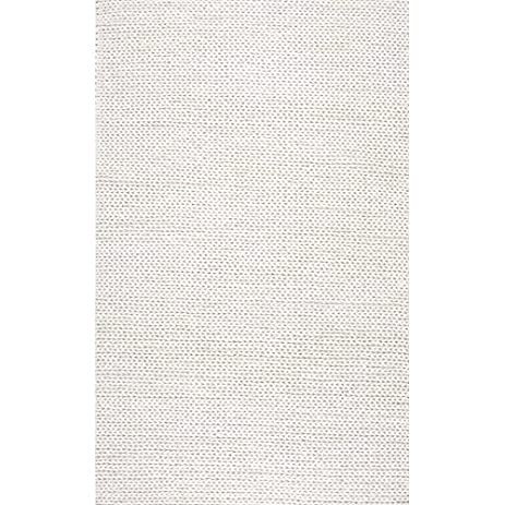 Hand Woven Chunky Woolen Cable Off White Area Rug