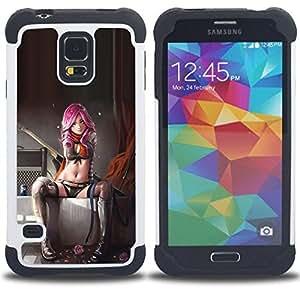 For Samsung Galaxy S5 I9600 G9009 G9008V - sexy pink suicide lingerie woman babe Dual Layer caso de Shell HUELGA Impacto pata de cabra con im????genes gr????ficas Steam - Funny Shop -