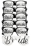 Wedding Party Sunglasses Retro Bridal Bachelorette Groom Party Favors,Konsait Party Glasses Perfect Favors for Bachelor Parties, Receptions, Picture Prop, and Photo Booths ( Bride x 1, Maid of Honor x 1, Bridesmaid x 4, 6 Pairs in Total)