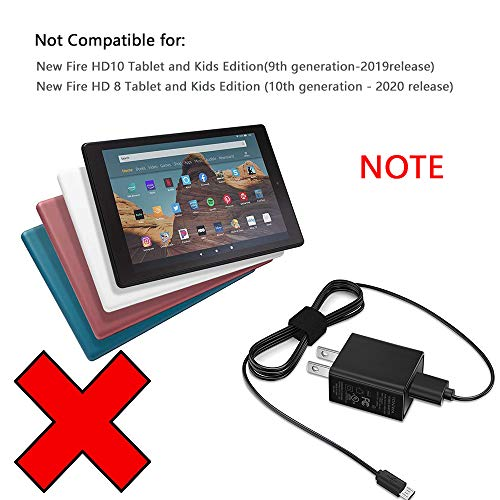 """Kindle Fire Charger [UL Listed] Compatible for Amazon Kindle Fire 7 HD 8 10 Tablet and Phones Kids Edition Kindle Fire HD HDX 7"""" 8.9"""" Fire Stick Fast Rapid Charger Adapter with 5FT Charging Cable Cord"""
