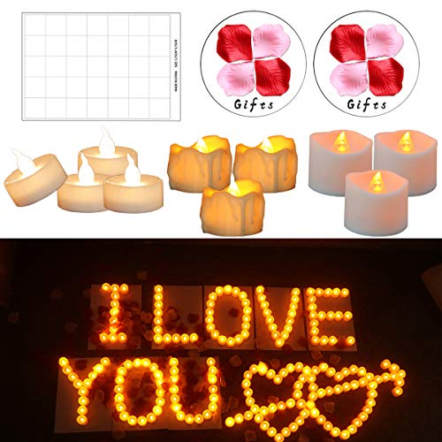 (Cozeyat 72pcs Pure White Light Wedding Led Tea Lights with 1000pcs Rose Petals, Romantic Unity Flameless Flickering Candle for Ceremony, Centerpieces, Reception Table, Anniversary, Church)