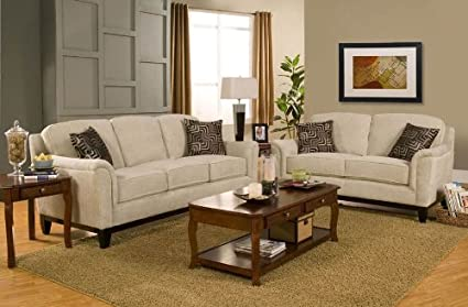Amazon Com 2pc Sofa Set With Flared Wood Legs In Beige Chenille