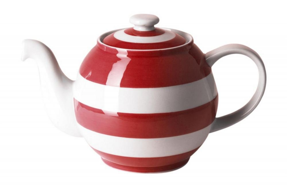 Cornishware Red and White Stripe Large Betty Teapot 6 Cup