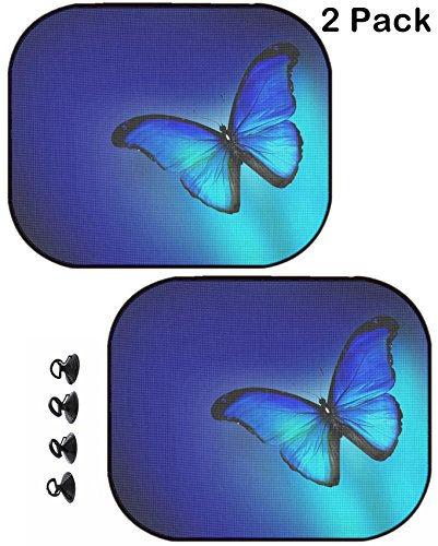 MSD Car Sun Shade Protector Side Window Block Damaging UV Rays Sunlight Heat for All Vehicles, 2 Pack Image ID 33249860 Blue Butterfly on Dark Blue Background (Children Light Shades Butterfly For)